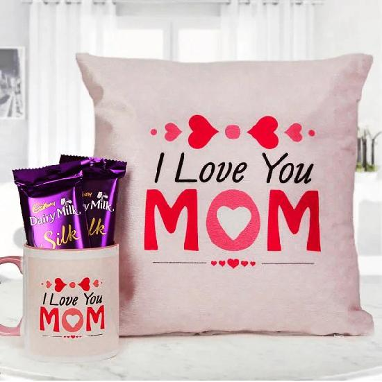 Love You Mom Cushion, Mug and 2 DM Silk