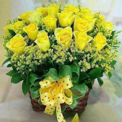 24 Yellow Roses Exclusive Basket