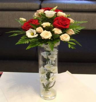Roses in Long Glass Vase