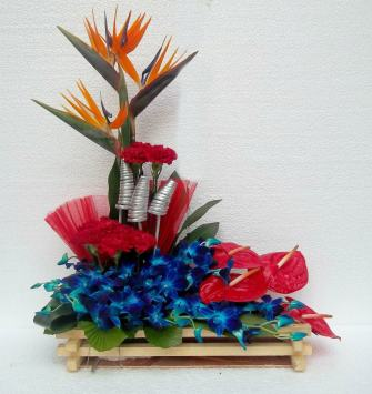 Strelitzia Anthurium and Orchid Basket