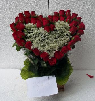 40 Red Rose Heart Basket