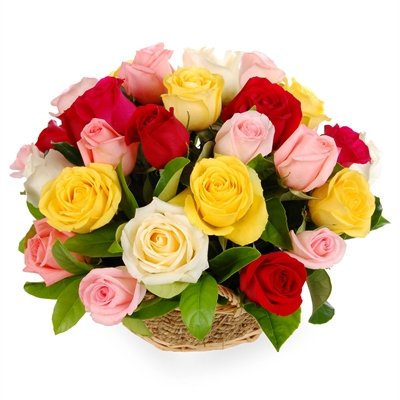 Send Yellow White Pink Red Multi Colour Roses BasketRound Shape Delivery In Delhi Noida And