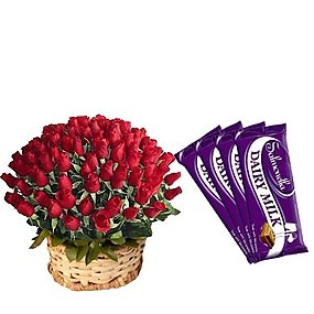 50 Roses Basket and 5 Dairy Milk Chocolate Bar