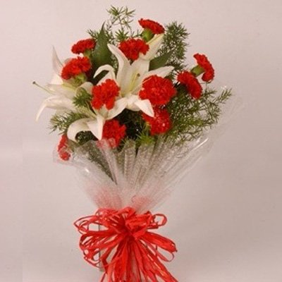 12 Carnations and Lillies Bunch