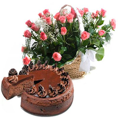 Chocolate Truffle Cake with Roses Basket