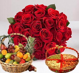 Roses Dryfruit and Fruit Basket