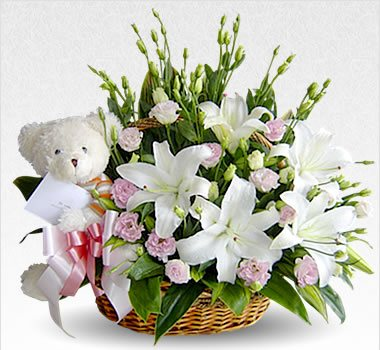 Lillies Basket and Teddy Bear