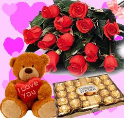 Chocolate Box, Red Roses,Teddy Bear