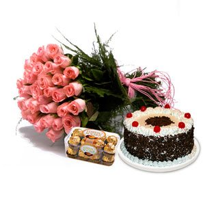 Flowers with Chocolates and Cake