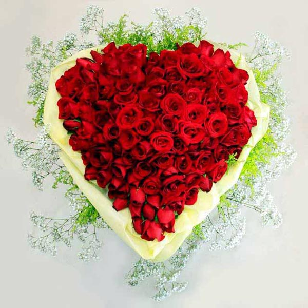 100 Red Rose Heart Shape