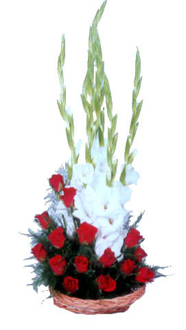 Gladiolus and Roses Basket