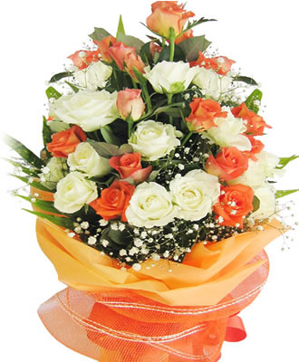 24 Orange and White Roses