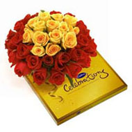 15 Yellow 30 Red Roses and Celebration Chocolate