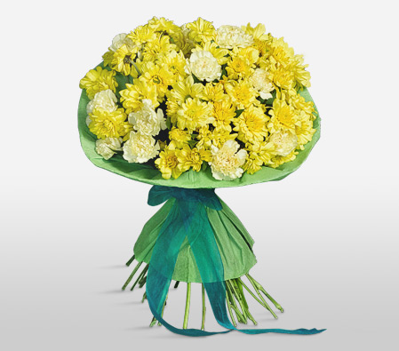 Yellow Carnations and Chrysanthemums