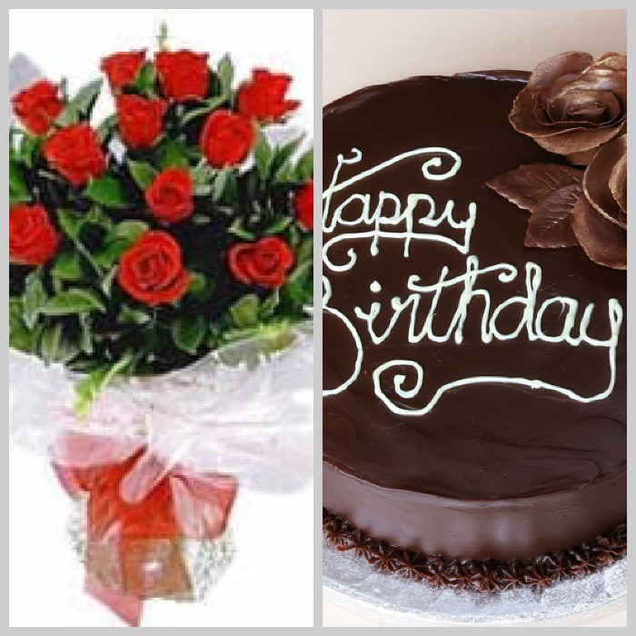 12 Red Rose, Chocolate Truffle Cake