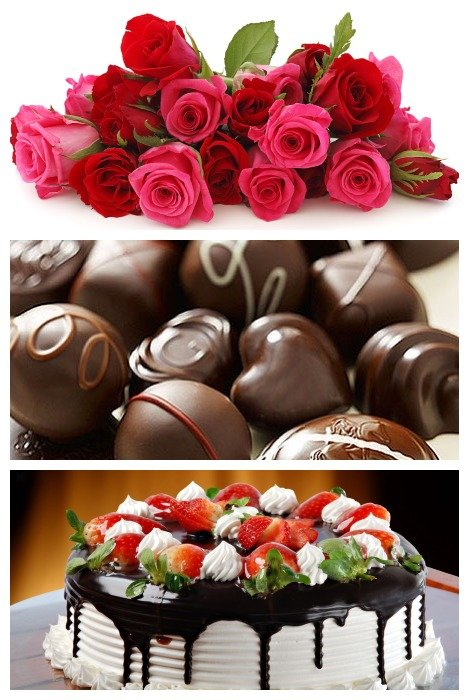Rose Sticks, Handmade Chocolates, Cake