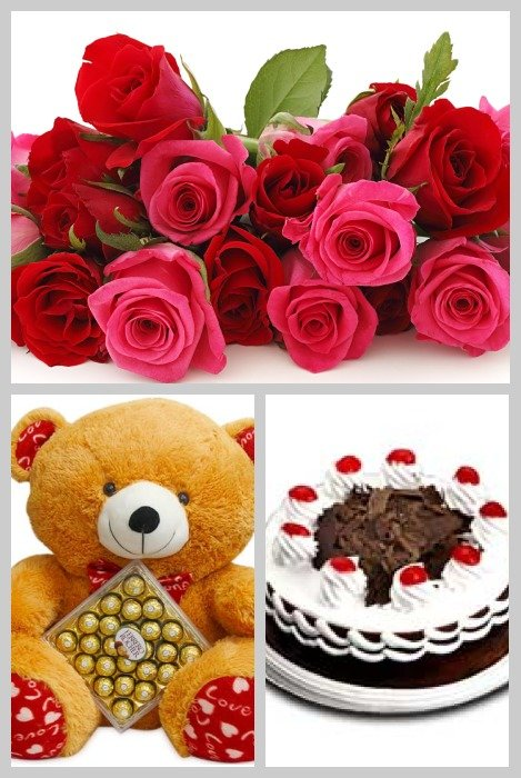 Rose Stick Black Forest Cake Big Teddy and Chocolates