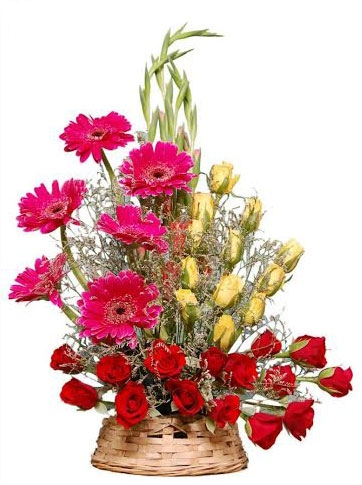 Roses Glad Gerbera Traditional Basket