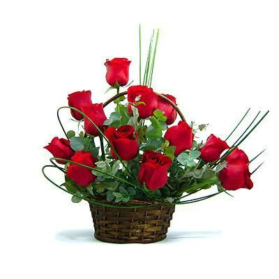 12 Red Roses Valentine Basket