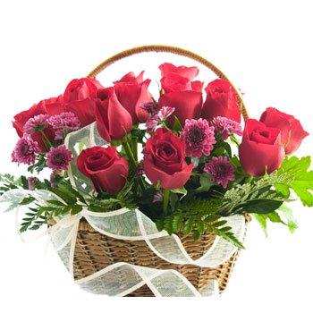 15 Pink Roses Round Basket