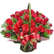 30 Red Roses Basket with Green Fillers Basket