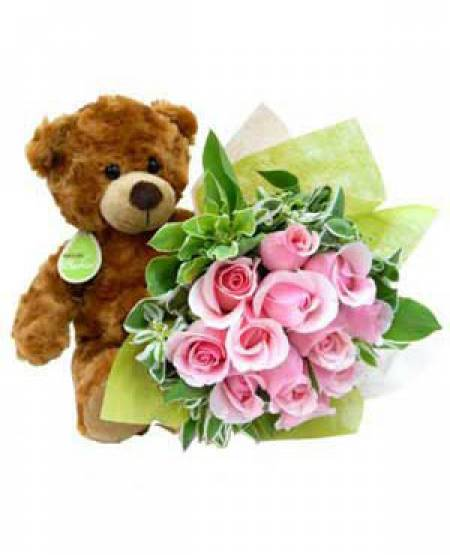 12 Pink Roses Bunch with 6 Inch Teddy Bear
