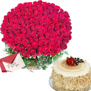 100 Roses and Yummy Cake