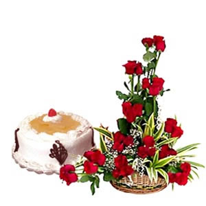 Designer Valentine Basket with Cake