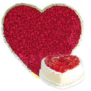 100 Red Roses Heart Shape Basket & 1KG Heart Shape Strawberry Cake