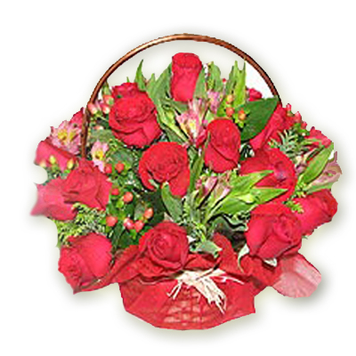 Red Roses Basket with Red Paper