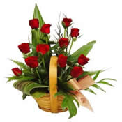 12 Red Roses Basket Arrangement Mumbai