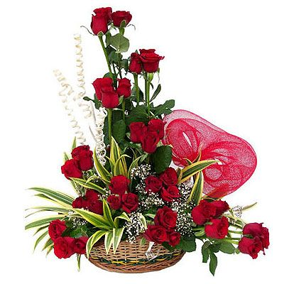 24 Red Roses Designer Basket