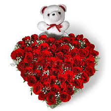 50 Red Roses Heart Shape Arrangement with Teddy Bear Mumbai