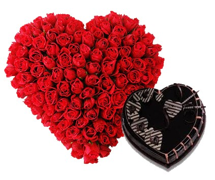 50 Red Roses Heart Shape Basket with 1 KG Heart Shape Chocolate Cake