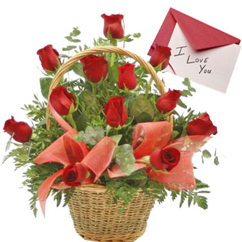 12 Fresh Red Roses Arrangement in Round Basket