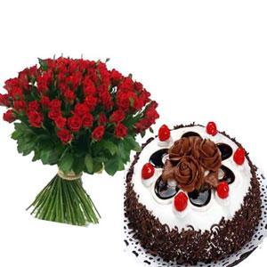 50 Red Roses with Half KG Black Forest Cake