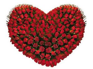 Send 100 Red Roses Heart Shape Arrangement To Bangalore On