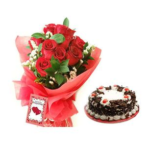 12 Red Roses Bunch with Half KG Black Forest Cake