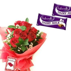 12 Red Roses with 5 Dairy Milk Chocolates