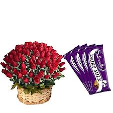 50 Red Roses Round Basket with 5 Dairy Milk Chocolates