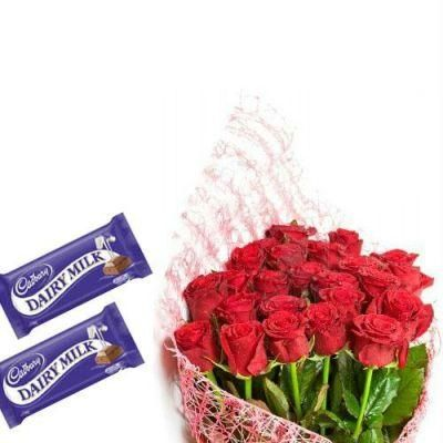 30 Red Roses and 2 Dairy Milk Chocolate