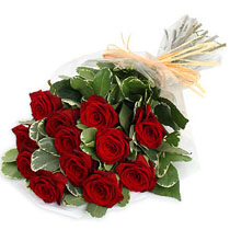 12 Red Roses with Big Leaves
