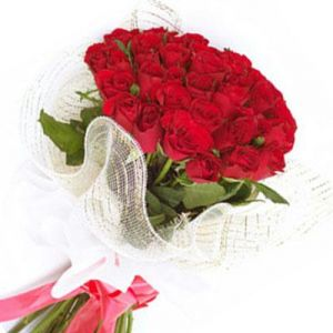 24 Red Rose Bouquet with Net Packing