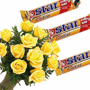 12 Yellow Roses 3 Five Star Chocolate