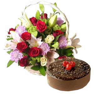 Exotic Flowers Basket with Chocolate Truffle Cake