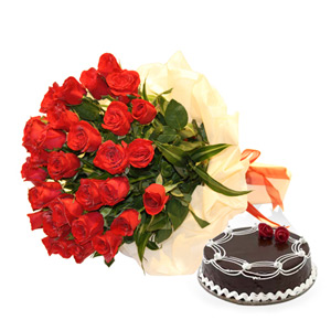 Two Dozen Roses and Cake for Mothers