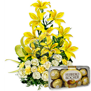 Exotic Lillies Flowers Basket with Chocolates