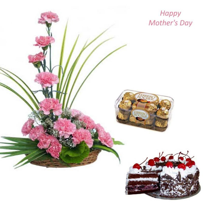Stylish Carnation Basket Cake and Chocolate