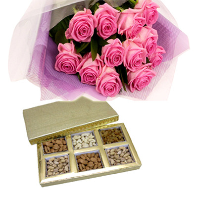 Pink Roses with Dry Fruit