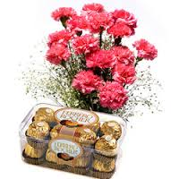 Pink Carnations & Chocolate Box